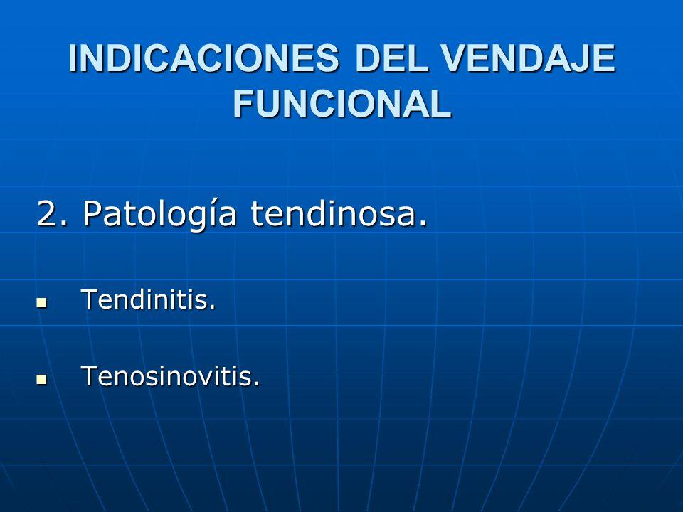 INDICACIONES DEL VENDAJE FUNCIONAL 2. Patología tendinosa. Tendinitis. Tendinitis. Tenosinovitis. Tenosinovitis.