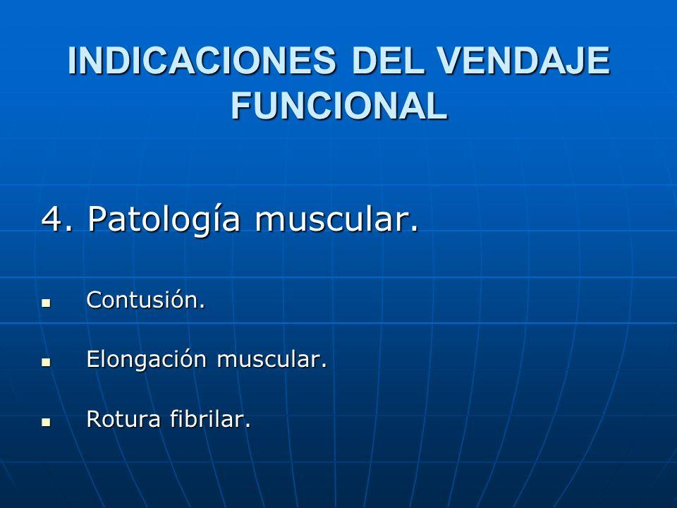 INDICACIONES DEL VENDAJE FUNCIONAL 4. Patología muscular. Contusión. Contusión. Elongación muscular. Elongación muscular. Rotura fibrilar. Rotura fibr