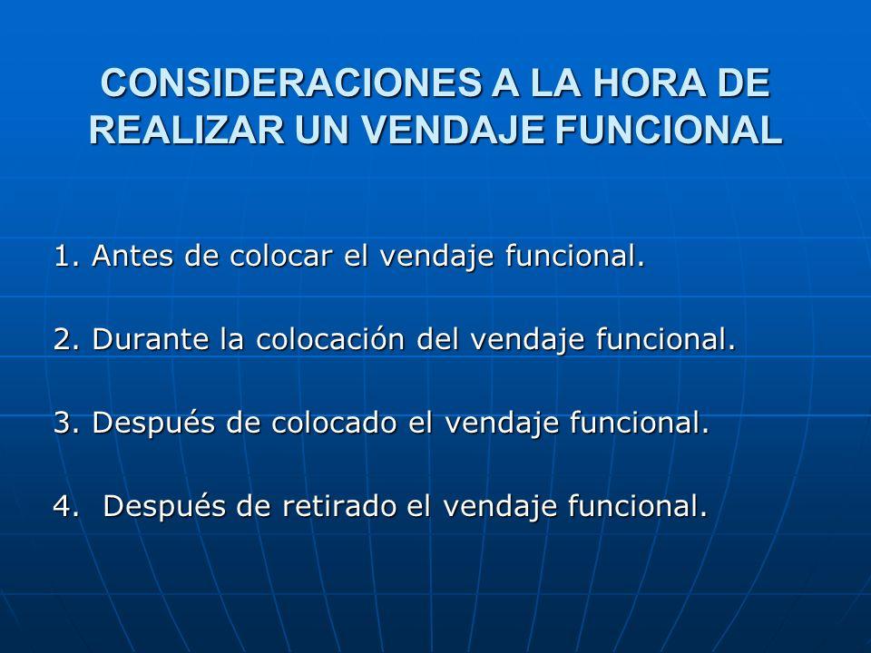 CONSIDERACIONES A LA HORA DE REALIZAR UN VENDAJE FUNCIONAL 1. Antes de colocar el vendaje funcional. 2. Durante la colocación del vendaje funcional. 3