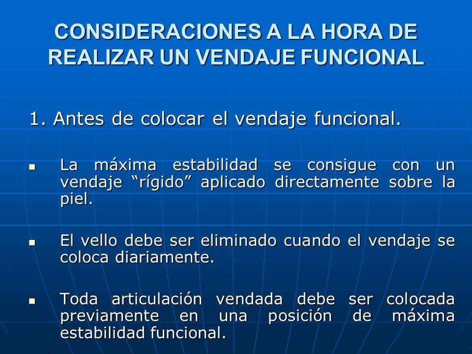 CONSIDERACIONES A LA HORA DE REALIZAR UN VENDAJE FUNCIONAL 1. Antes de colocar el vendaje funcional. La máxima estabilidad se consigue con un vendaje