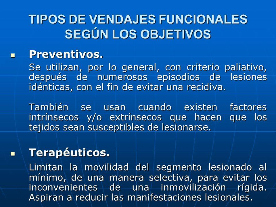 TIPOS DE VENDAJES FUNCIONALES SEGÚN LOS OBJETIVOS Preventivos. Preventivos. Se utilizan, por lo general, con criterio paliativo, después de numerosos