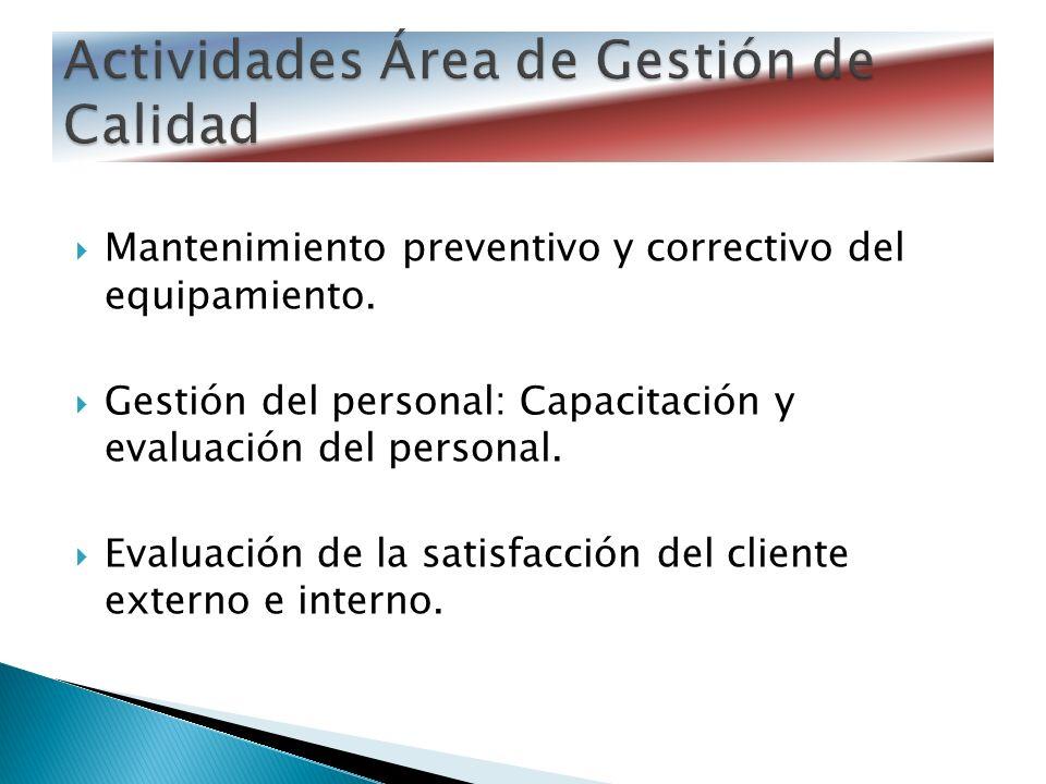 Mantenimiento preventivo y correctivo del equipamiento. Gestión del personal: Capacitación y evaluación del personal. Evaluación de la satisfacción de