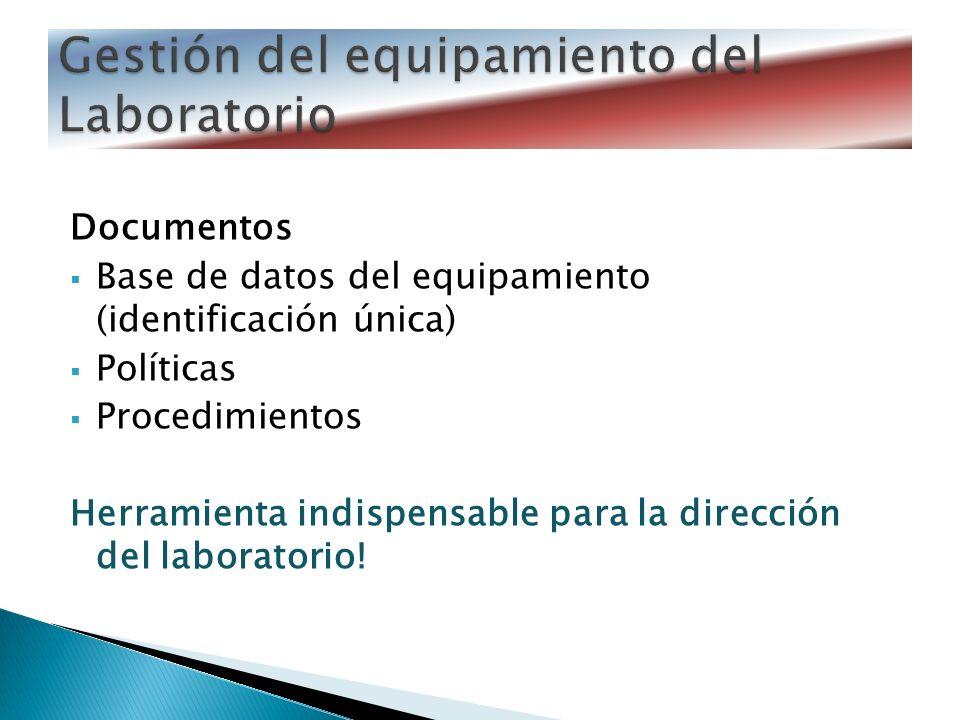 Documentos Base de datos del equipamiento (identificación única) Políticas Procedimientos Herramienta indispensable para la dirección del laboratorio!