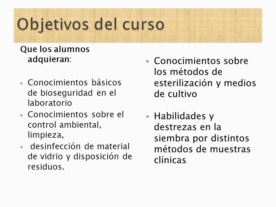 Que los alumnos adquieran: Conocimientos básicos de bioseguridad en el laboratorio Conocimientos sobre el control ambiental, limpieza, desinfección de