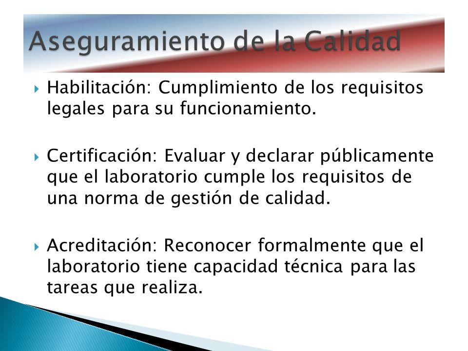 Habilitación: Cumplimiento de los requisitos legales para su funcionamiento. Certificación: Evaluar y declarar públicamente que el laboratorio cumple