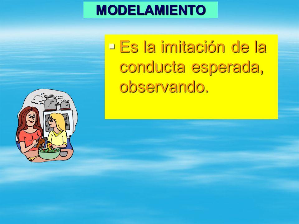 MODELAMIENTO Es la imitación de la conducta esperada, observando. Es la imitación de la conducta esperada, observando.
