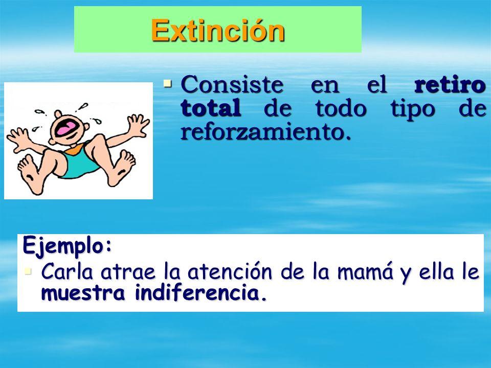 Extinción Consiste en el retiro total de todo tipo de reforzamiento. Consiste en el retiro total de todo tipo de reforzamiento. Ejemplo: Carla atrae l