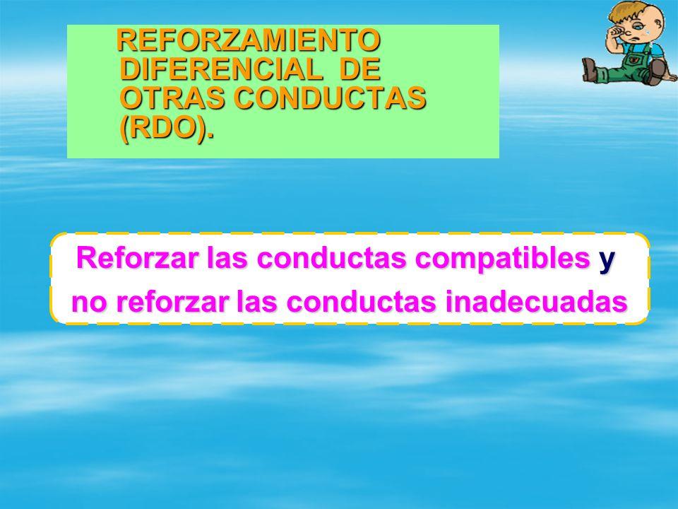 REFORZAMIENTO DIFERENCIAL DE OTRAS CONDUCTAS (RDO). REFORZAMIENTO DIFERENCIAL DE OTRAS CONDUCTAS (RDO). Reforzar las conductas compatibles y no reforz
