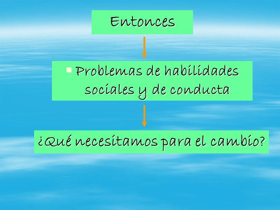 Entonces Problemas de habilidades sociales y de conducta Problemas de habilidades sociales y de conducta ¿Qué necesitamos para el cambio?