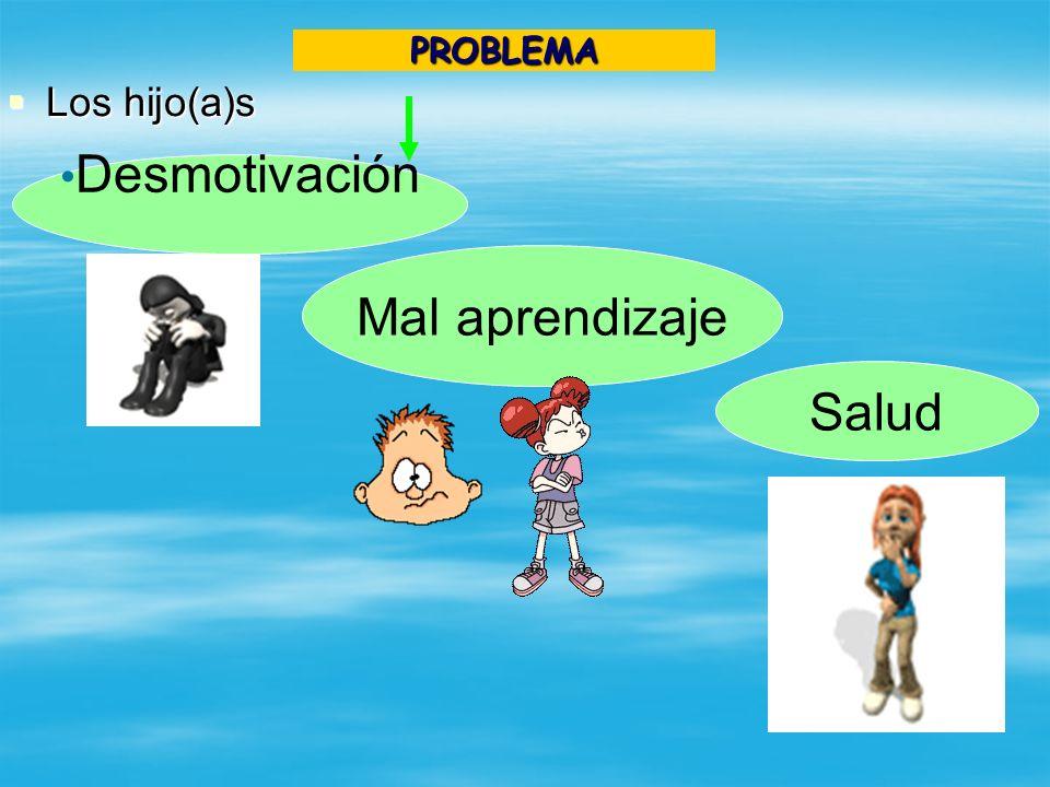 Los hijo(a)s Los hijo(a)s Desmotivación Mal aprendizaje Salud PROBLEMA