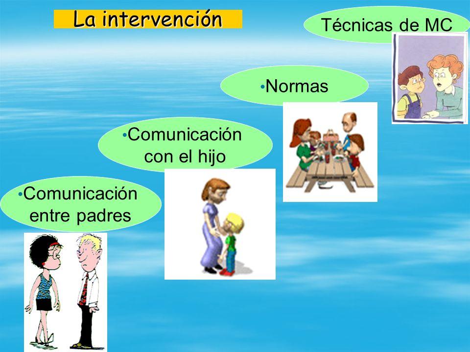 La intervención Normas Técnicas de MC Comunicación entre padres Comunicación con el hijo