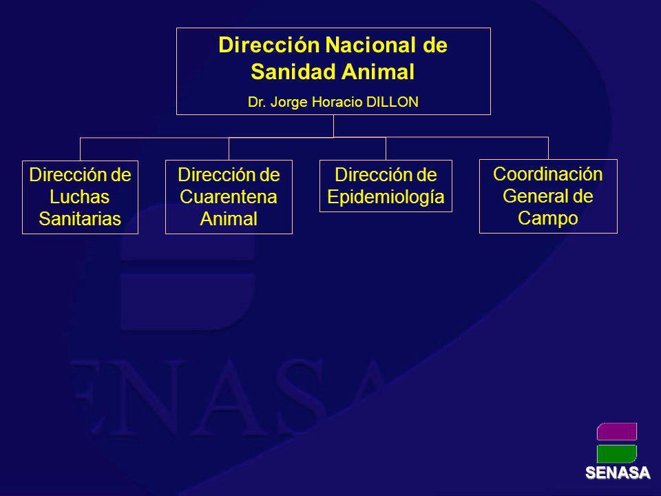 Dirección Nacional de Sanidad Animal Dr. Jorge Horacio DILLON Dirección de Luchas Sanitarias Dirección de Epidemiología Dirección de Cuarentena Animal