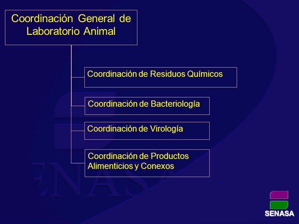 Coordinación General de Laboratorio Animal Coordinación de Residuos Químicos Coordinación de Bacteriología Coordinación de Virología Coordinación de P