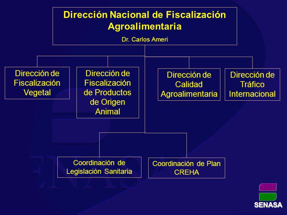 Dirección Nacional de Fiscalización Agroalimentaria Dr. Carlos Ameri Dirección de Tráfico Internacional Dirección de Fiscalización de Productos de Ori