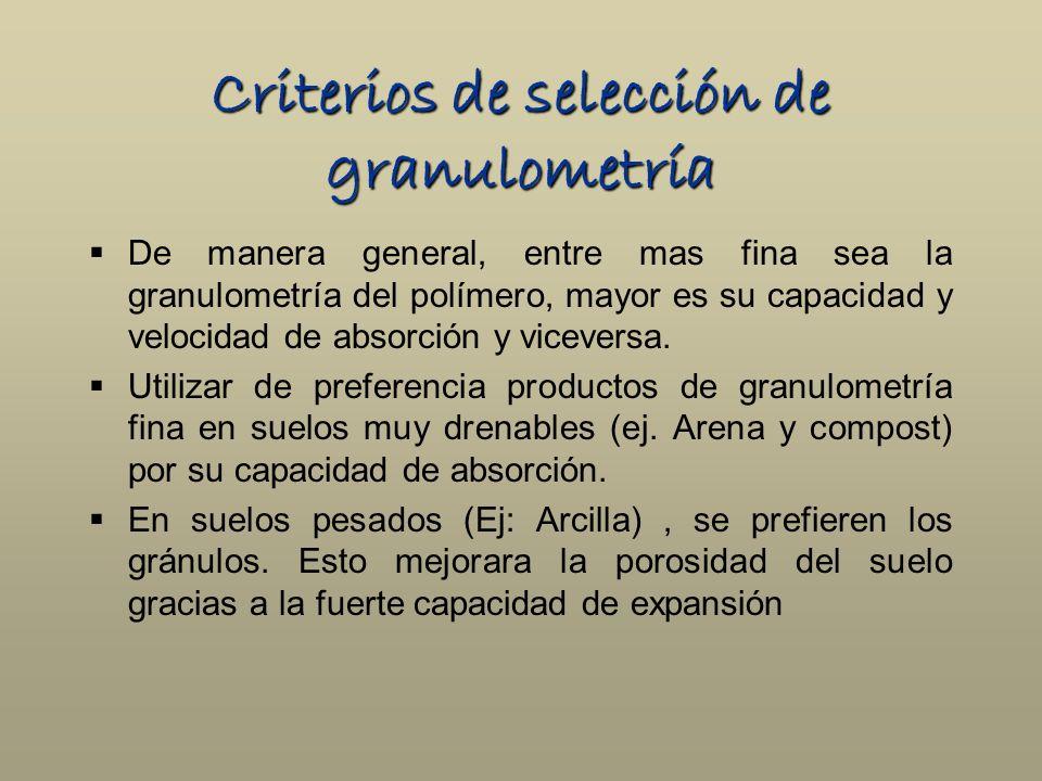 Criterios de selección de granulometría De manera general, entre mas fina sea la granulometría del polímero, mayor es su capacidad y velocidad de abso