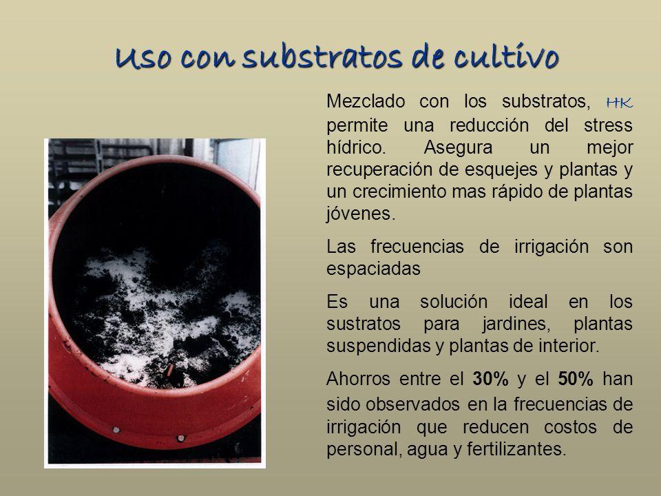 Uso con substratos de cultivo Mezclado con los substratos, HK permite una reducción del stress hídrico. Asegura un mejor recuperación de esquejes y pl