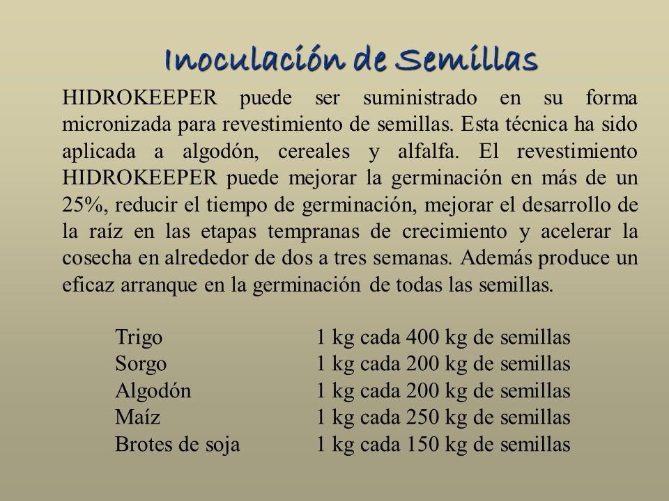 Inoculación de Semillas HIDROKEEPER puede ser suministrado en su forma micronizada para revestimiento de semillas. Esta técnica ha sido aplicada a alg