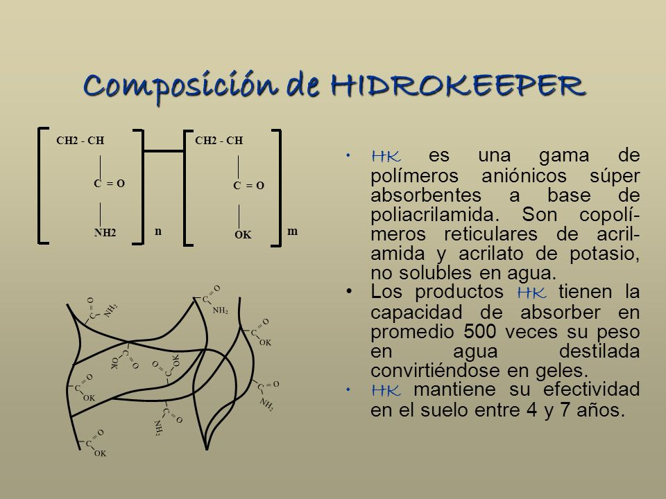 Composición de HIDROKEEPER HK es una gama de polímeros aniónicos súper absorbentes a base de poliacrilamida. Son copolí- meros reticulares de acril- a