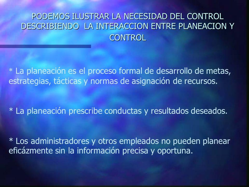 PODEMOS ILUSTRAR LA NECESIDAD DEL CONTROL DESCRIBIENDO LA INTERACCION ENTRE PLANEACION Y CONTROL * La planeación es el proceso formal de desarrollo de