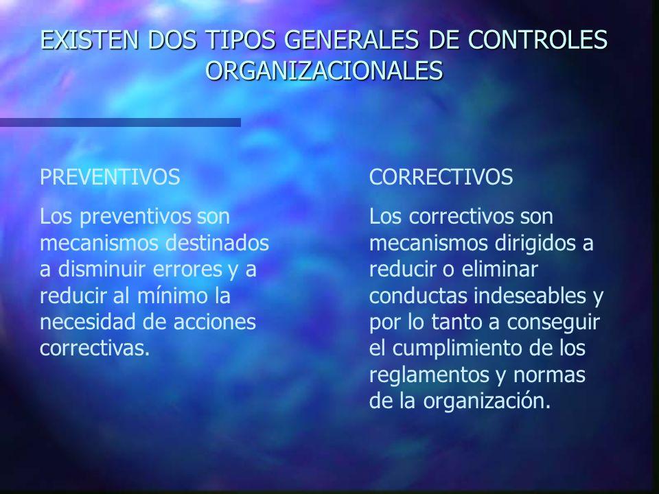 EXISTEN DOS TIPOS GENERALES DE CONTROLES ORGANIZACIONALES PREVENTIVOS Los preventivos son mecanismos destinados a disminuir errores y a reducir al mín