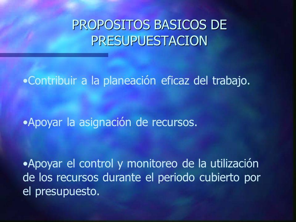 PROPOSITOS BASICOS DE PRESUPUESTACION Contribuir a la planeación eficaz del trabajo. Apoyar la asignación de recursos. Apoyar el control y monitoreo d
