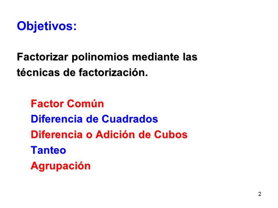 2 Objetivos: Factorizar polinomios mediante las técnicas de factorización.
