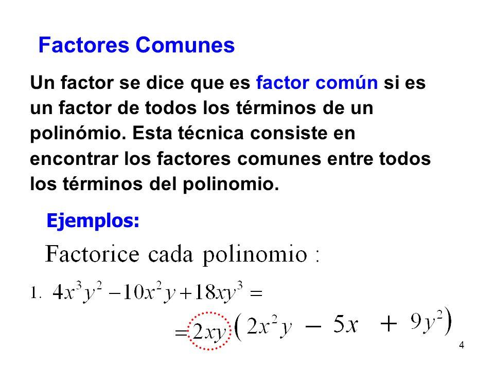 3 Aclaración: La factorización es el proceso que se utiliza para expresar un polinomio como una multiplicación. Factores del polinomio