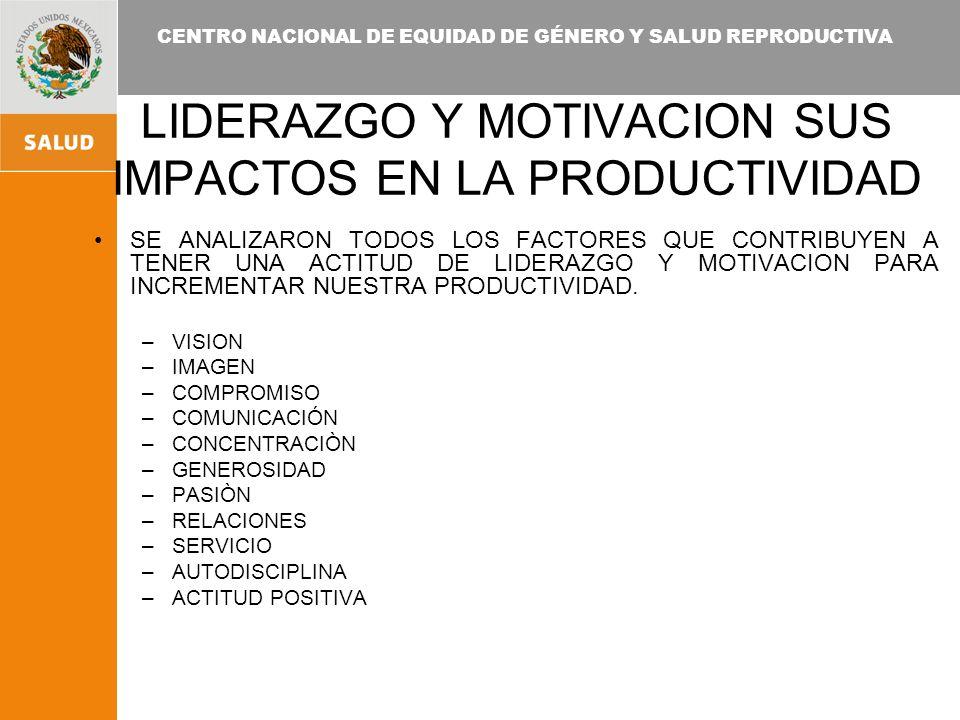 CENTRO NACIONAL DE EQUIDAD DE GÉNERO Y SALUD REPRODUCTIVA LIDERAZGO Y MOTIVACION SUS IMPACTOS EN LA PRODUCTIVIDAD SE ANALIZARON TODOS LOS FACTORES QUE CONTRIBUYEN A TENER UNA ACTITUD DE LIDERAZGO Y MOTIVACION PARA INCREMENTAR NUESTRA PRODUCTIVIDAD.