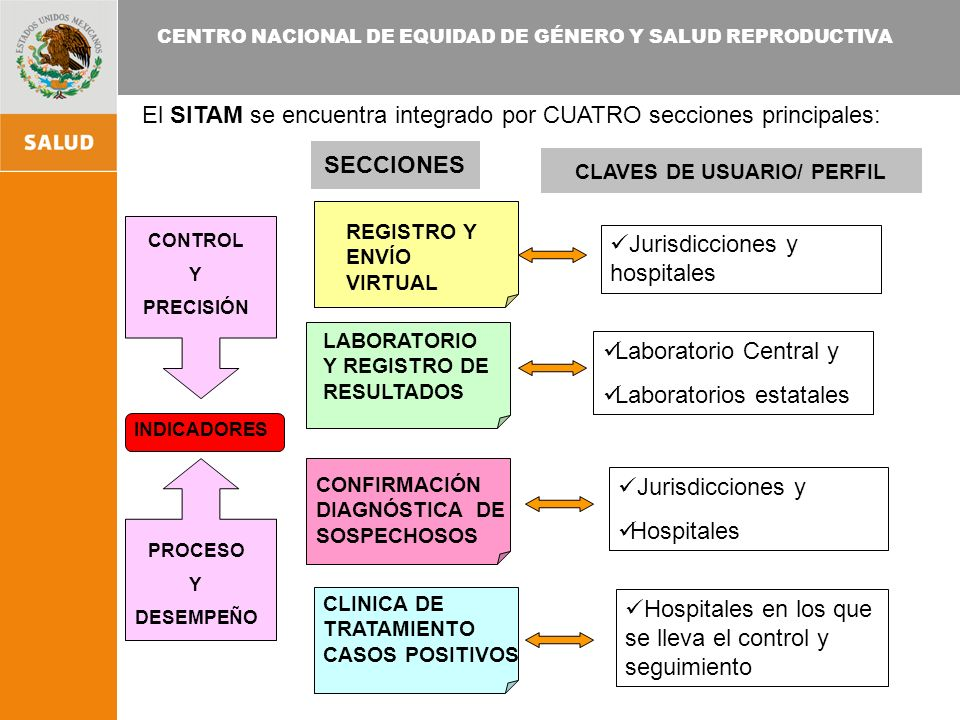 CENTRO NACIONAL DE EQUIDAD DE GÉNERO Y SALUD REPRODUCTIVA El SITAM se encuentra integrado por CUATRO secciones principales: Jurisdicciones y hospitales Laboratorio Central y Laboratorios estatales Jurisdicciones y Hospitales REGISTRO Y ENVÍO VIRTUAL LABORATORIO Y REGISTRO DE RESULTADOS CONFIRMACIÓN DIAGNÓSTICA DE SOSPECHOSOS CLAVES DE USUARIO/ PERFIL CLINICA DE TRATAMIENTO CASOS POSITIVOS Hospitales en los que se lleva el control y seguimiento SECCIONES CONTROL Y PRECISIÓN PROCESO Y DESEMPEÑO INDICADORES