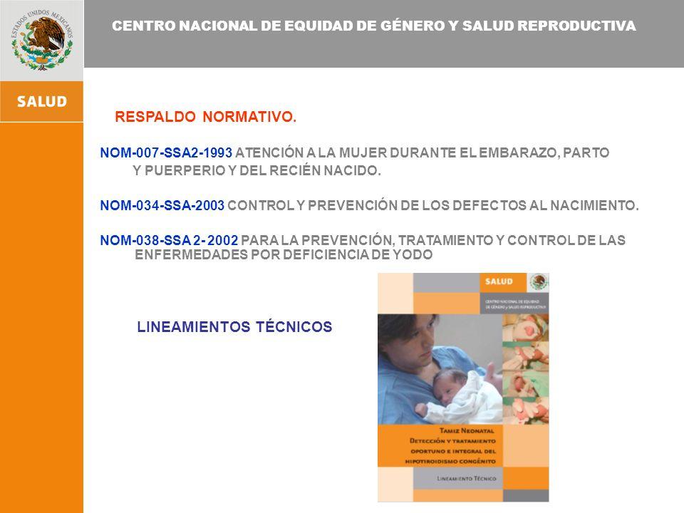 CENTRO NACIONAL DE EQUIDAD DE GÉNERO Y SALUD REPRODUCTIVA RESPALDO NORMATIVO.