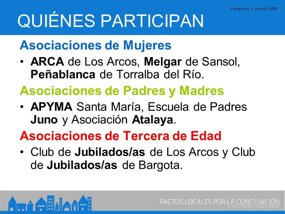 Pamplona, 3 de junio 2009 QUIÉNES PARTICIPAN Asociaciones de Mujeres ARCA de Los Arcos, Melgar de Sansol, Peñablanca de Torralba del Río.