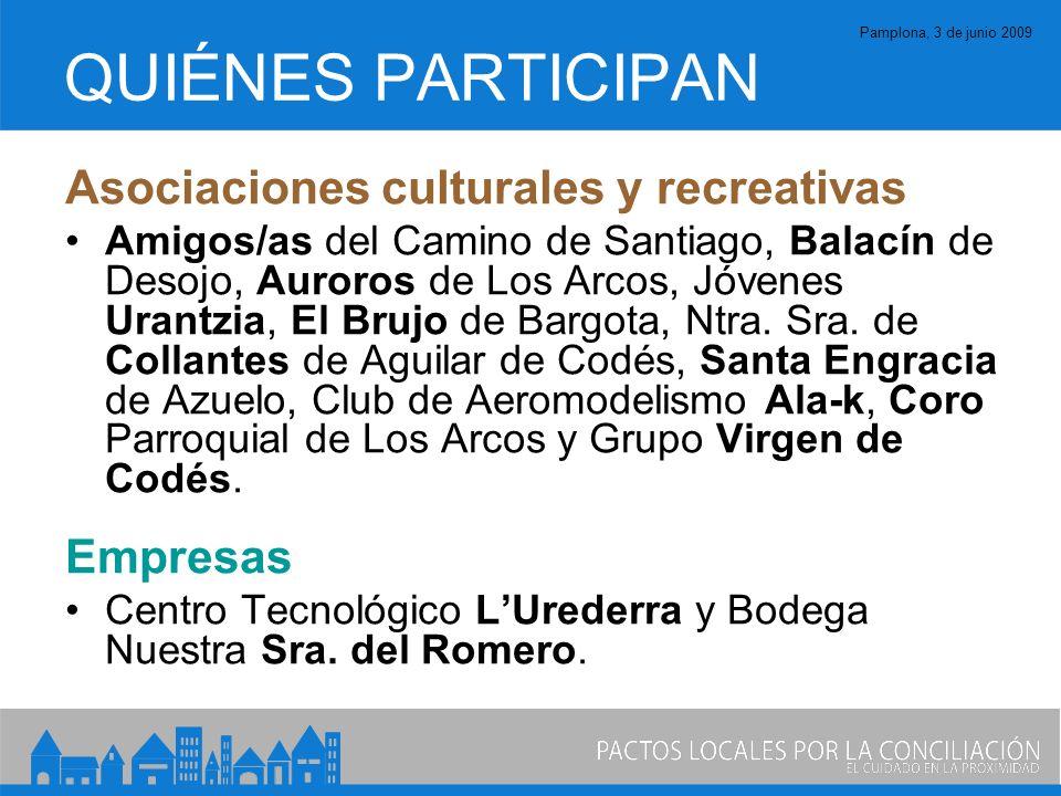 Pamplona, 3 de junio 2009 QUIÉNES PARTICIPAN Asociaciones culturales y recreativas Amigos/as del Camino de Santiago, Balacín de Desojo, Auroros de Los Arcos, Jóvenes Urantzia, El Brujo de Bargota, Ntra.