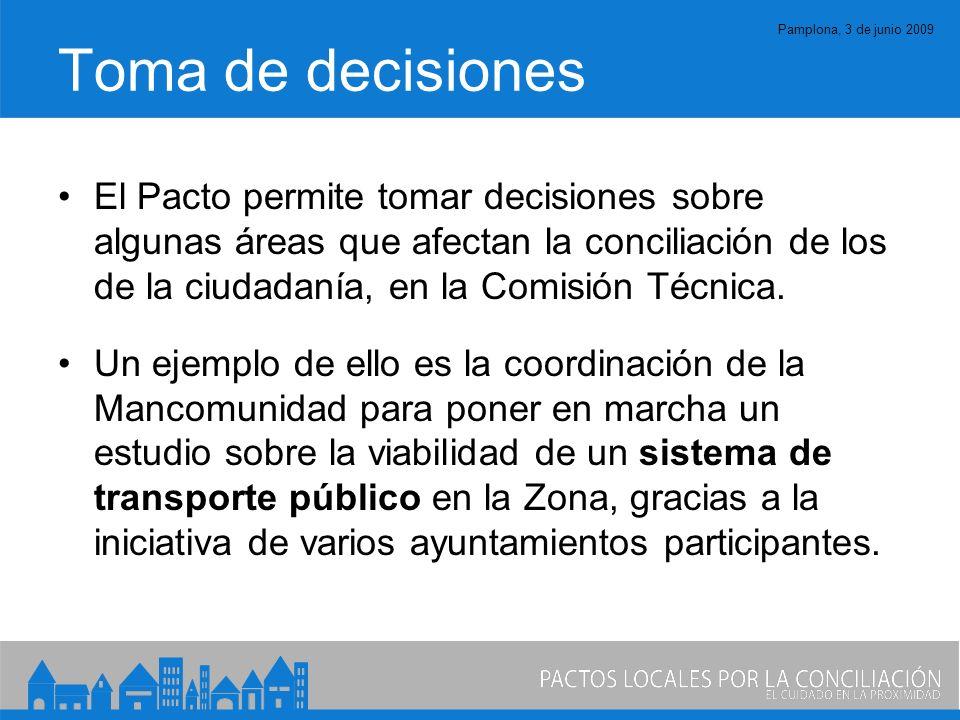 Pamplona, 3 de junio 2009 Toma de decisiones El Pacto permite tomar decisiones sobre algunas áreas que afectan la conciliación de los de la ciudadanía, en la Comisión Técnica.