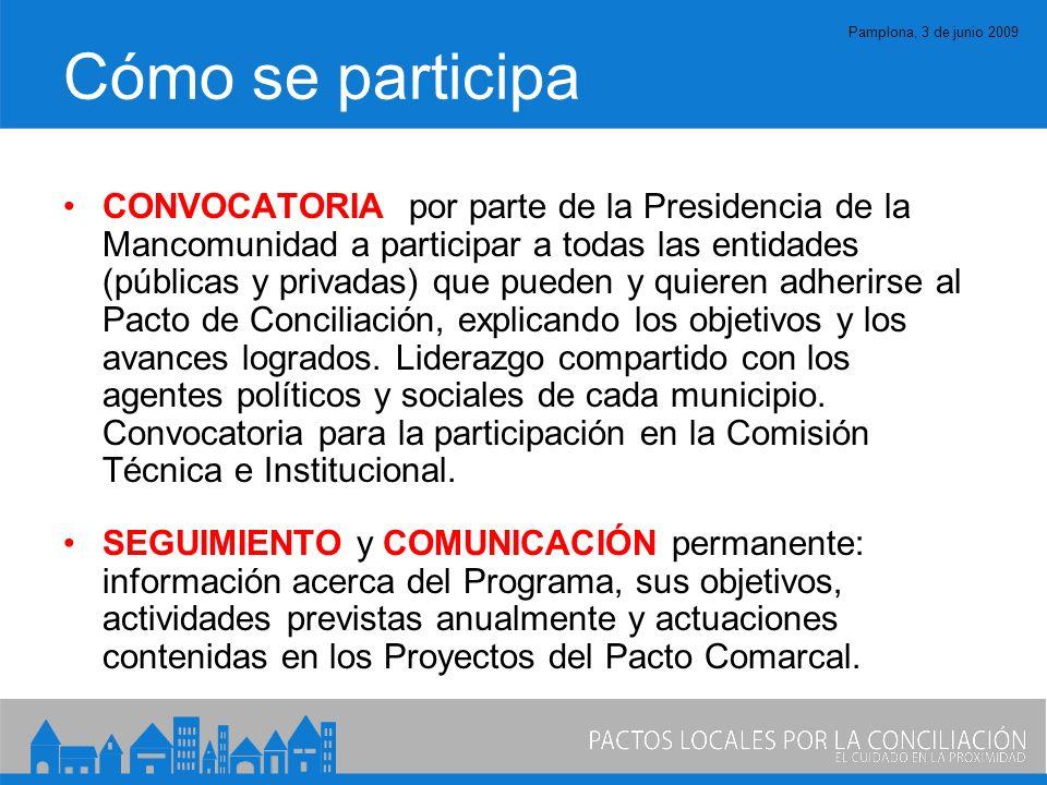 Pamplona, 3 de junio 2009 Cómo se participa CONVOCATORIA por parte de la Presidencia de la Mancomunidad a participar a todas las entidades (públicas y privadas) que pueden y quieren adherirse al Pacto de Conciliación, explicando los objetivos y los avances logrados.