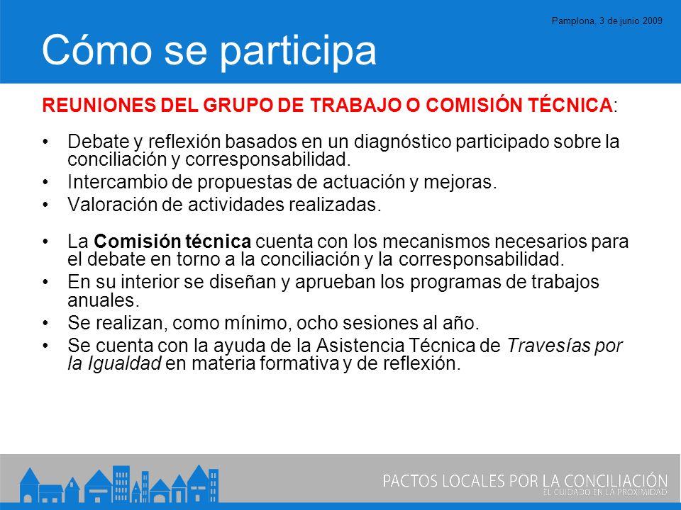 Pamplona, 3 de junio 2009 Cómo se participa REUNIONES DEL GRUPO DE TRABAJO O COMISIÓN TÉCNICA: Debate y reflexión basados en un diagnóstico participado sobre la conciliación y corresponsabilidad.
