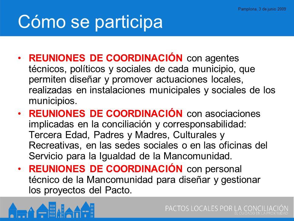 Pamplona, 3 de junio 2009 Cómo se participa REUNIONES DE COORDINACIÓN con agentes técnicos, políticos y sociales de cada municipio, que permiten diseñar y promover actuaciones locales, realizadas en instalaciones municipales y sociales de los municipios.