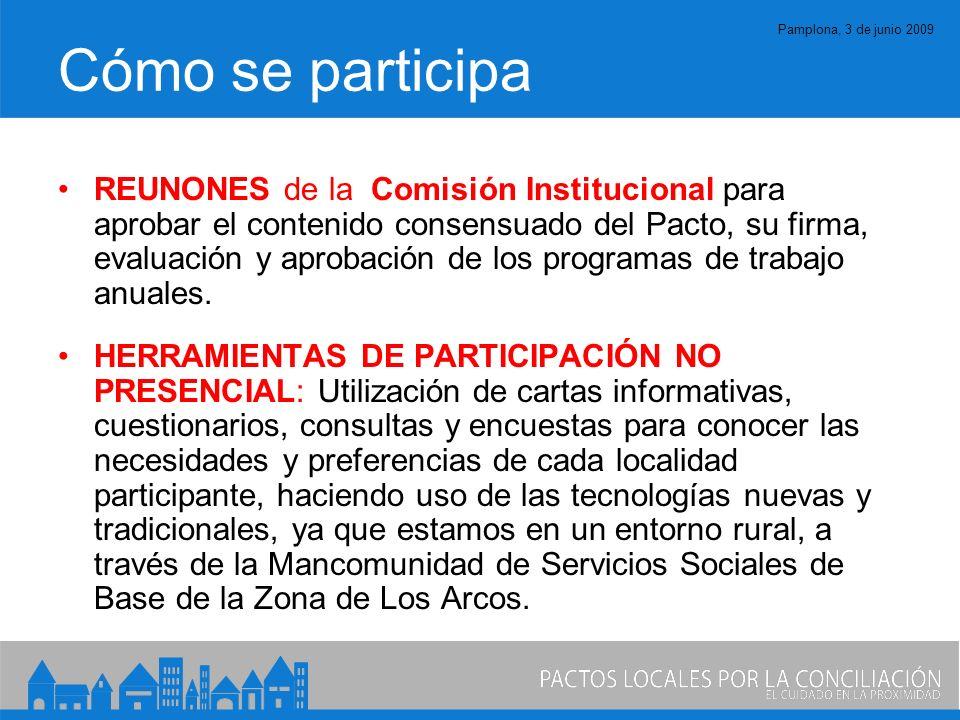 Pamplona, 3 de junio 2009 Cómo se participa REUNONES de la Comisión Institucional para aprobar el contenido consensuado del Pacto, su firma, evaluación y aprobación de los programas de trabajo anuales.
