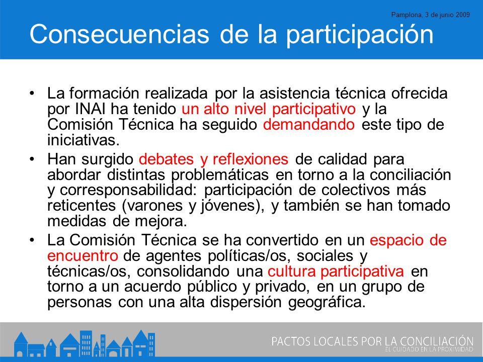 Pamplona, 3 de junio 2009 Consecuencias de la participación La formación realizada por la asistencia técnica ofrecida por INAI ha tenido un alto nivel participativo y la Comisión Técnica ha seguido demandando este tipo de iniciativas.