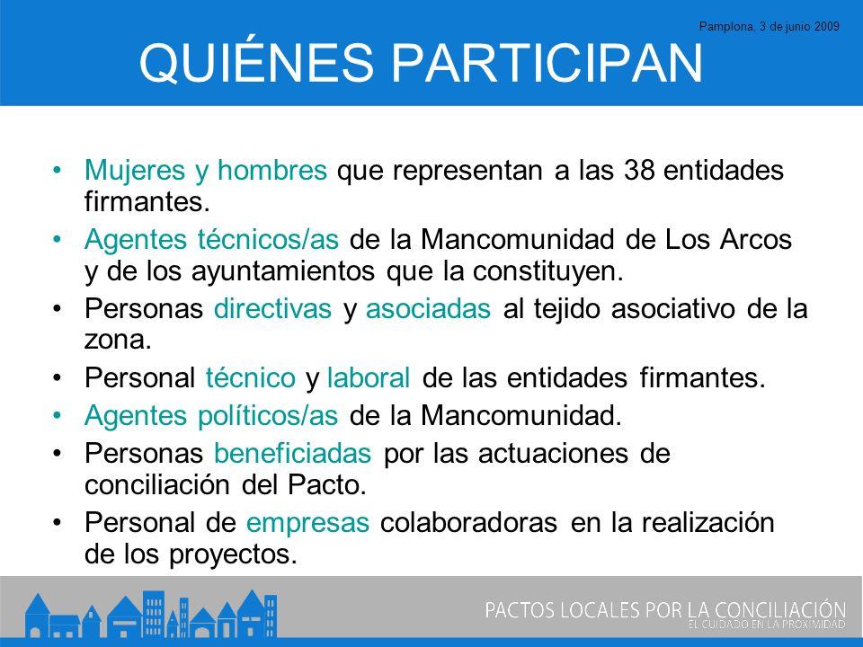 Pamplona, 3 de junio 2009 QUIÉNES PARTICIPAN Mujeres y hombres que representan a las 38 entidades firmantes.