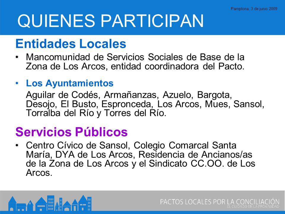 Pamplona, 3 de junio 2009 QUIENES PARTICIPAN Entidades Locales Mancomunidad de Servicios Sociales de Base de la Zona de Los Arcos, entidad coordinadora del Pacto.