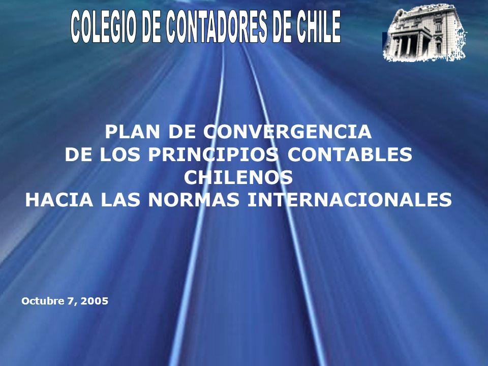 Colegio de Contadores de Chile 6.Compromiso de adoptar las normas internacionales de contabilidad 7.Proceso de difusión y asimilación del plan de convergencia por parte de los diferentes actores del mercado: Plan de implementación Efectos Fechas de adopción II.Marco considerado para la formulación del plan de convergencia
