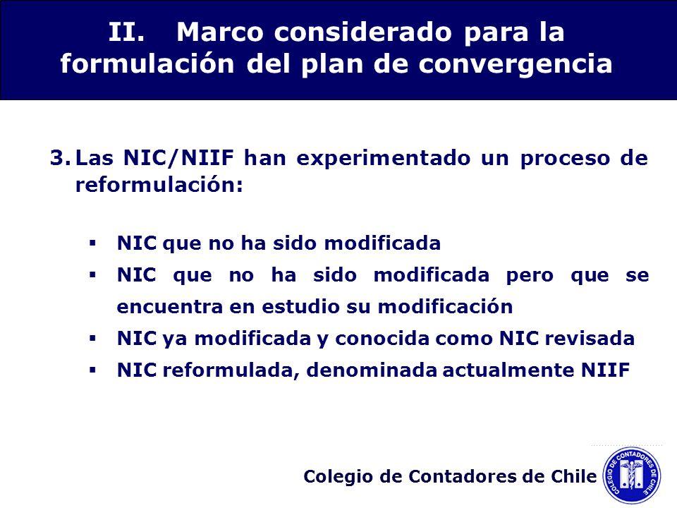 Colegio de Contadores de Chile 3.Las NIC/NIIF han experimentado un proceso de reformulación: NIC que no ha sido modificada NIC que no ha sido modifica