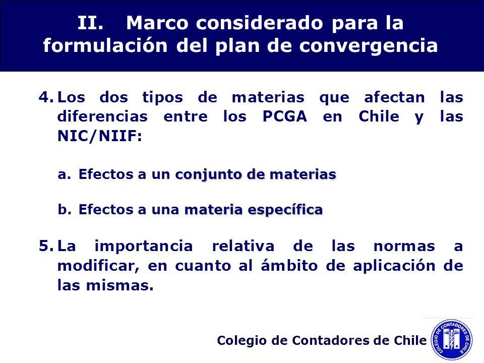 Colegio de Contadores de Chile 4.Los dos tipos de materias que afectan las diferencias entre los PCGA en Chile y las NIC/NIIF: conjunto de materias a.