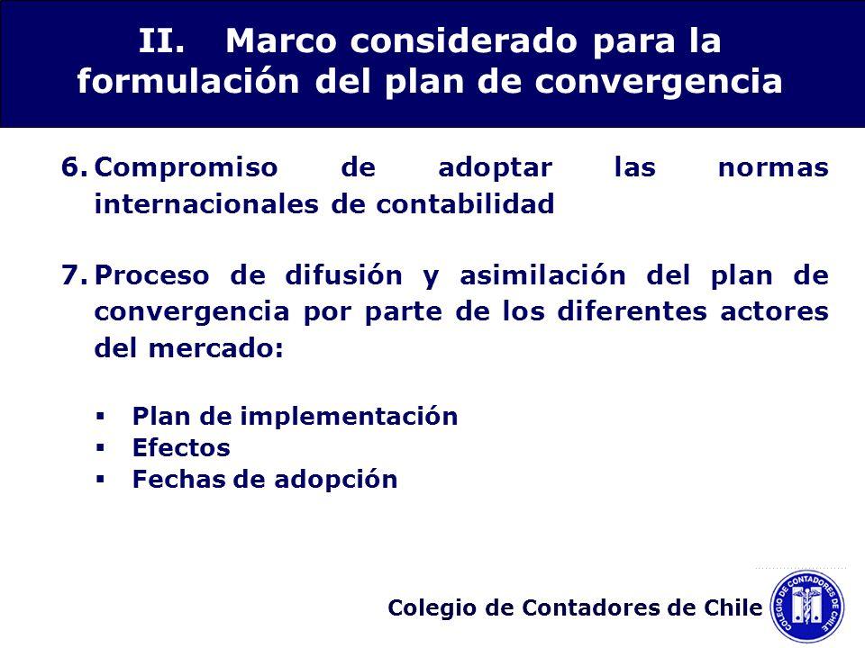 Colegio de Contadores de Chile 6.Compromiso de adoptar las normas internacionales de contabilidad 7.Proceso de difusión y asimilación del plan de conv