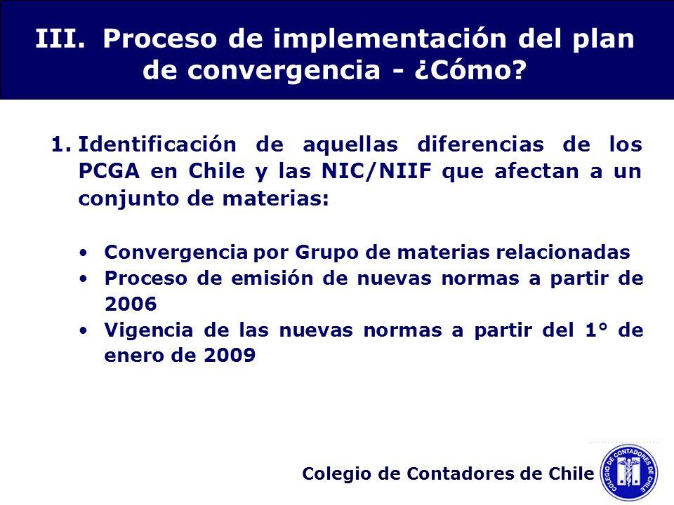 Colegio de Contadores de Chile 1.Identificación de aquellas diferencias de los PCGA en Chile y las NIC/NIIF que afectan a un conjunto de materias: Con