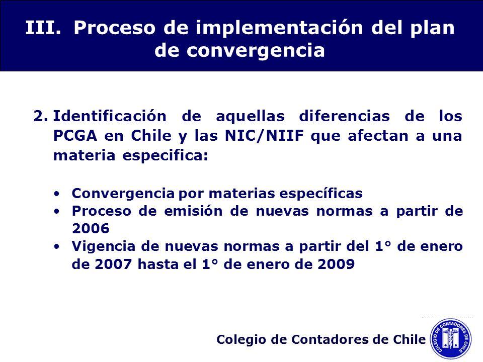 Colegio de Contadores de Chile 2.Identificación de aquellas diferencias de los PCGA en Chile y las NIC/NIIF que afectan a una materia especifica: Conv