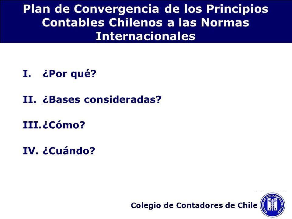 Colegio de Contadores de Chile 1.Identificación de aquellas diferencias de los PCGA en Chile y las NIC/NIIF que afectan a un conjunto de materias: Convergencia por Grupo de materias relacionadas Proceso de emisión de nuevas normas a partir de 2006 Vigencia de las nuevas normas a partir del 1° de enero de 2009 III.Proceso de implementación del plan de convergencia - ¿Cómo?