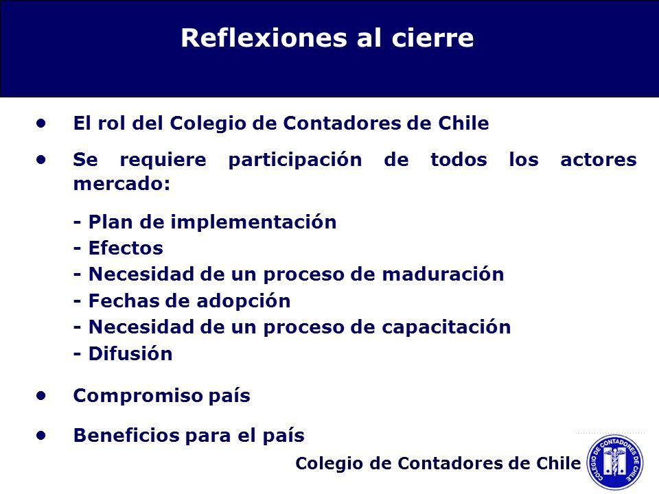 Colegio de Contadores de Chile El rol del Colegio de Contadores de Chile Se requiere participación de todos los actores mercado: - Plan de implementac