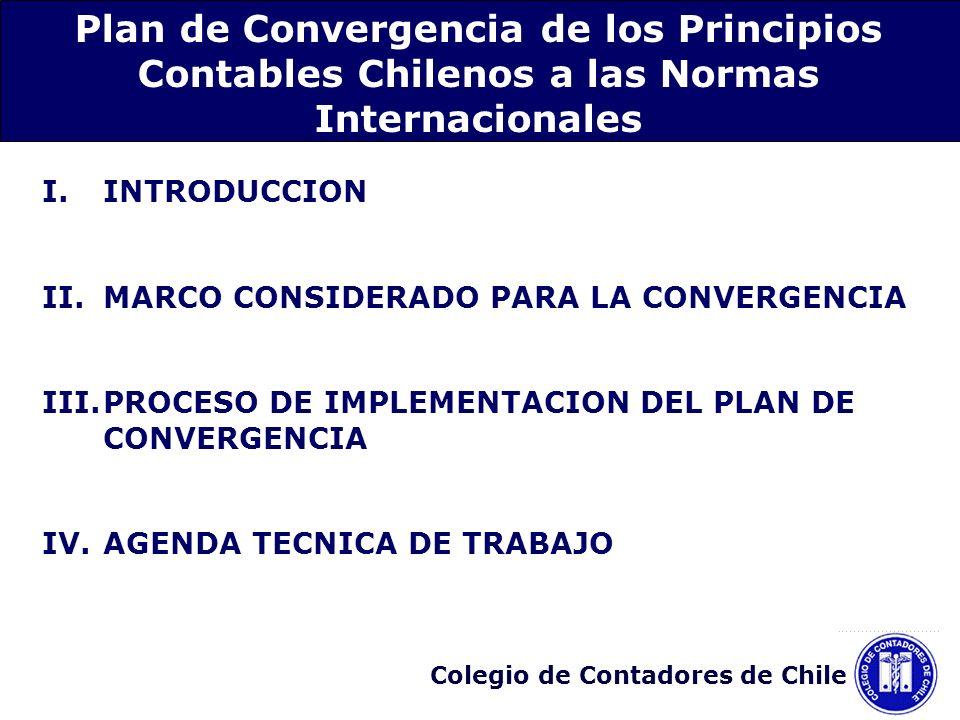 Colegio de Contadores de Chile 2.Identificación de aquellas diferencias de los PCGA en Chile y las NIC/NIIF que afectan a una materia especifica: Convergencia por materias específicas Proceso de emisión de nuevas normas a partir de 2006 Vigencia de nuevas normas a partir del 1° de enero de 2007 hasta el 1° de enero de 2009 III.Proceso de implementación del plan de convergencia