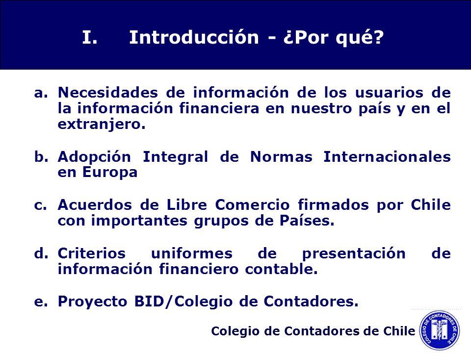 Colegio de Contadores de Chile 1.Materias cuya convergencia se efectúa modificando simultáneamente un conjunto de materias: PrioridadGrupo de materiasNIC/NIIF 1Grupo 1 Combinación de Negocios(NIIF 3) Consolidación(NIC 27) Inversiones en Empresas Coligadas (NIC 28) Participaciones en Negocios Conjunto (NIC 31) Deterioro del Valor de activos(NIC 36) Activos Intangibles(NIC 38) Entidades de Cometido Especial(SIC 12) IV.